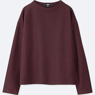 WOMEN WOOL-BLEND LONG-SLEEVE PULLOVER, WINE, medium