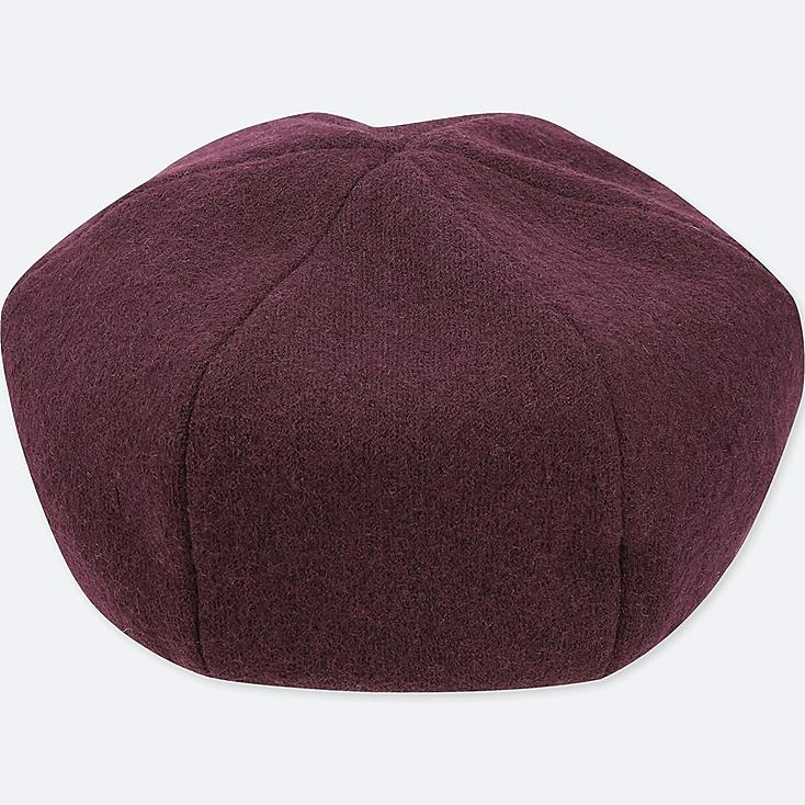 WOMEN WOOL BERET, WINE, large
