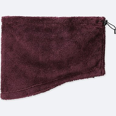 HEATTECH FURRY FLEECE NECK WARMER, WINE, medium