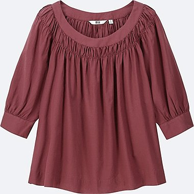 WOMEN SOFT COTTON GATHERED 3/4 SLEEVE BLOUSE, WINE, medium