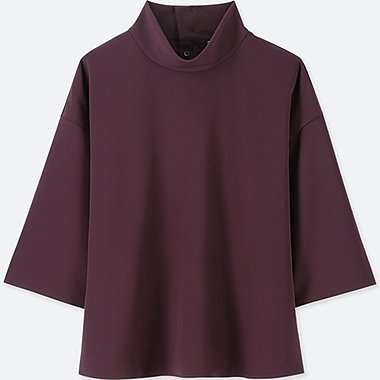 WOMEN DRAPE MOCK NECK 3/4 SLEEVE BLOUSE, WINE, medium