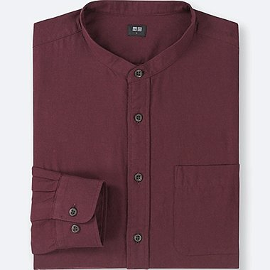 MEN SOFT TWILL STAND COLLAR LONG-SLEEVE SHIRT (ONLINE EXCLUSIVE), WINE, medium