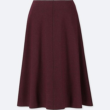 WOMEN WOOL-BLEND HIGH-WAISTED FLARED SKIRT, WINE, medium