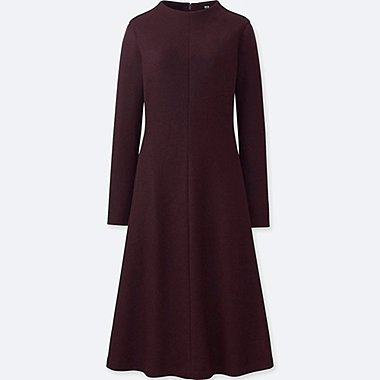 WOMEN WOOL BLENDED LONG SLEEVE DRESS