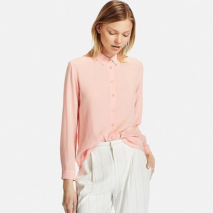 Women S Collared Long Sleeve Blouse Uniqlo Us