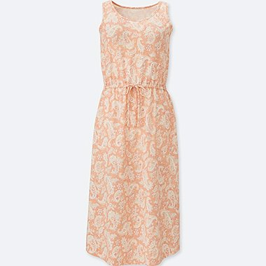 WOMEN PAISLEY SLEEVELESS EASY BRA DRESS, LIGHT ORANGE, medium