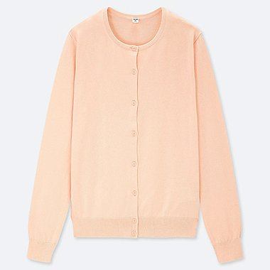 WOMEN SUPIMA COTTON UV CUT CREW NECK CARDIGAN