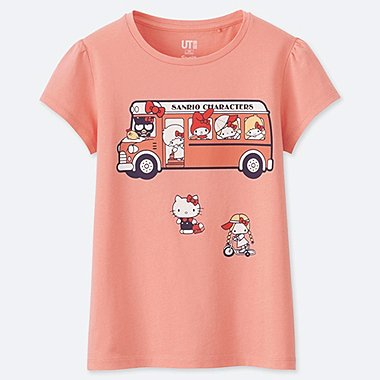 GIRLS SANRIO CHARACTERS UT (SHORT-SLEEVE GRAPHIC T-SHIRT), LIGHT ORANGE, medium
