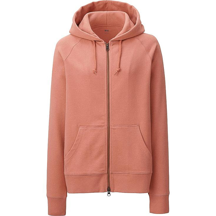 Women Zip-Up Hoodie, LIGHT ORANGE, large