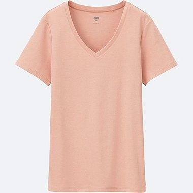 WOMEN SUPIMA COTTON V NECK SHORT SLEEVE T-SHIRT