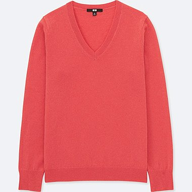 WOMEN CASHMERE V-NECK SWEATER, LIGHT ORANGE, medium