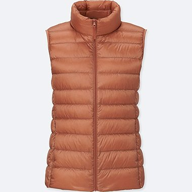 Women Ultra Light Down Vest, LIGHT ORANGE, medium