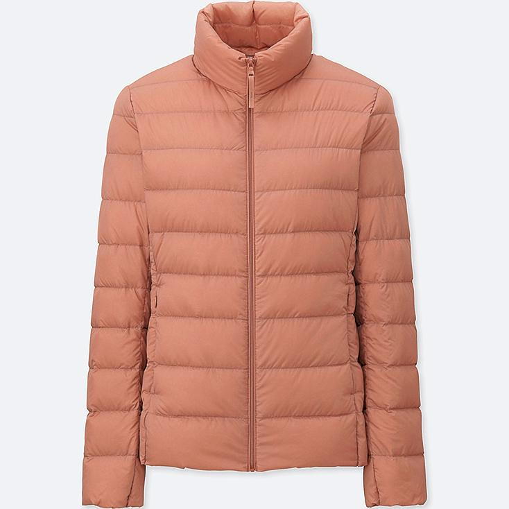 Women Ultra Light Down Jacket, LIGHT ORANGE, large