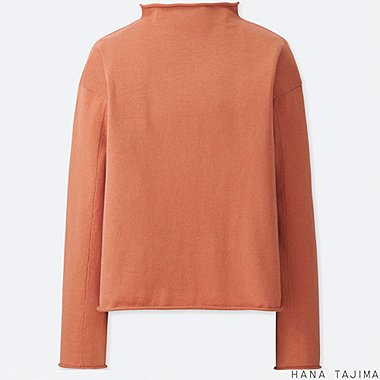 WOMEN COTTON CASHMERE MOCK NECK SWEATER, LIGHT ORANGE, medium