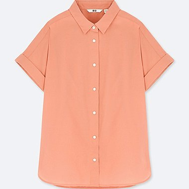 WOMEN SOFT COTTON SHORT-SLEEVE SHIRT, LIGHT ORANGE, medium