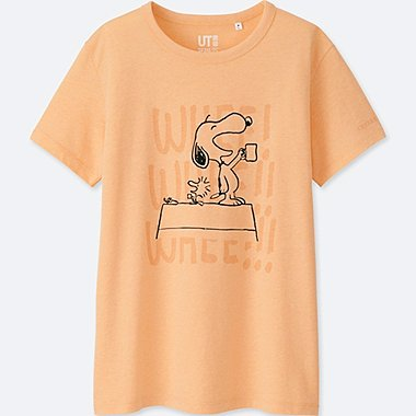 WOMEN PEANUTS SHORT-SLEEVE GRAPHIC T-SHIRT, LIGHT ORANGE, medium