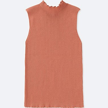 WOMEN SUPIMA® COTTON UV CUT RIBBED SLEEVELESS SWEATER, LIGHT ORANGE, medium