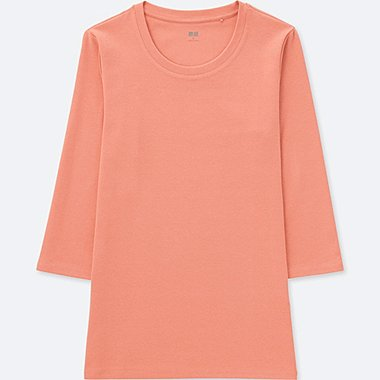 WOMEN COMPACT COTTON CREWNECK 3/4 SLEEVE T-SHIRT, LIGHT ORANGE, medium