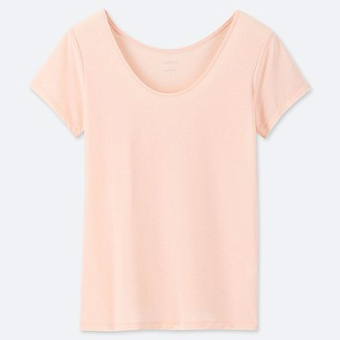 WOMEN AIRism SCOOP NECK SHORT-SLEEVE T-SHIRT, LIGHT ORANGE, medium