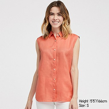 WOMEN PREMIUM LINEN SLEEVELESS SHIRT, LIGHT ORANGE, medium