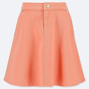 GIRLS DENIM FLARE SKIRT, LIGHT ORANGE, medium