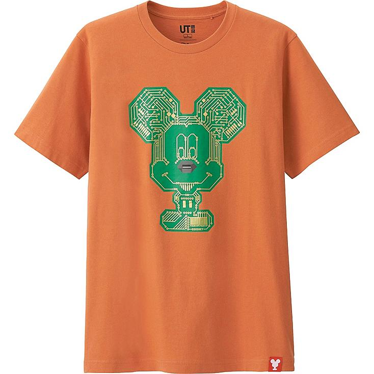 MEN MICKEY 100 SHORT SLEEVE GRAPHIC T-SHIRT, ORANGE, large