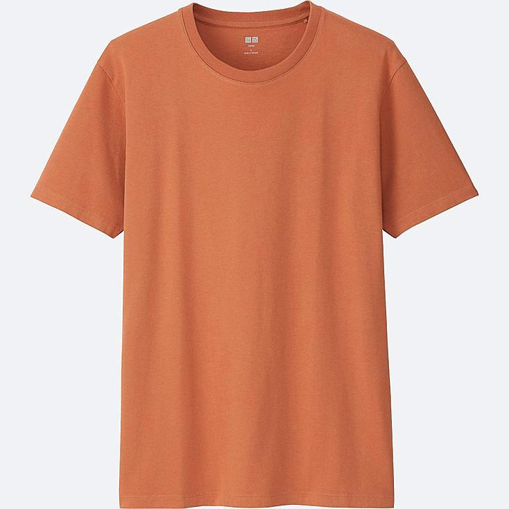 MEN Supima® COTTON CREWNECK SHORT-SLEEVE T-SHIRT, ORANGE, large