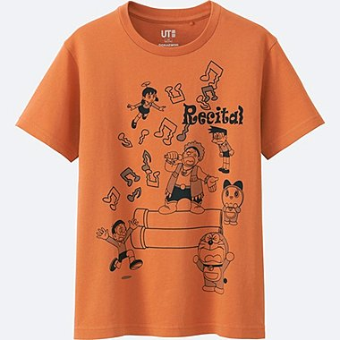 KIDS DORAEMON SHORT SLEEVE GRAPHIC T-SHIRT, ORANGE, medium