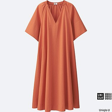 WOMEN Uniqlo U Seersucker Short Sleeve Dress