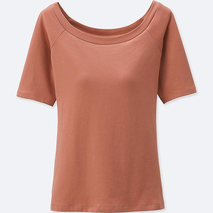 WOMEN BRA BALLET NECK SHORT SLEEVE T-SHIRT, ORANGE, large