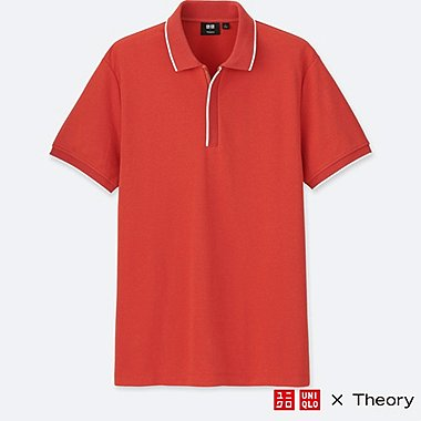 MEN DRY COMFORT SHORT-SLEEVE ZIP POLO SHIRT (THEORY), ORANGE, medium