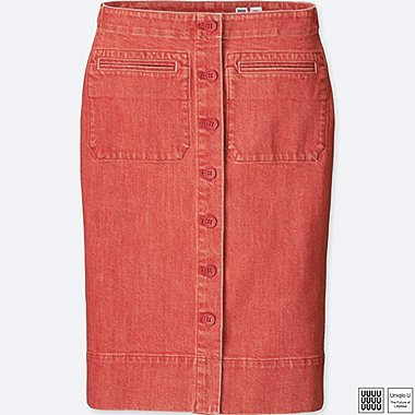 Damen U Jeans Midi Rock