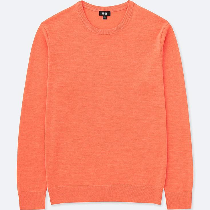 MEN EXTRA FINE MERINO CREW NECK LONG-SLEEVE SWEATER, ORANGE, large