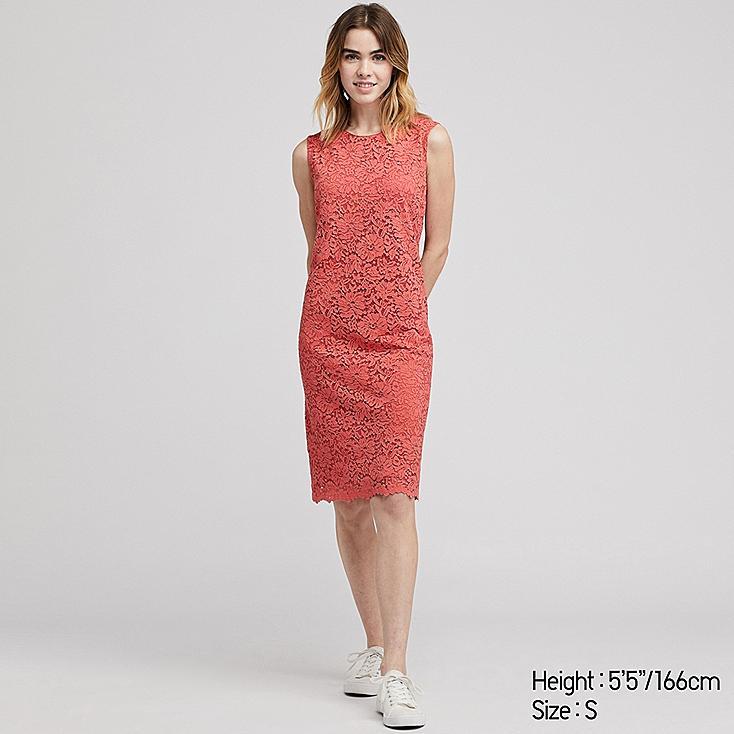 WOMEN LACE DRESS, ORANGE, large