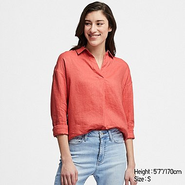7ce22ec0dbe WOMEN PREMIUM LINEN SKIPPER COLLAR LONG-SLEEVE SHIRT