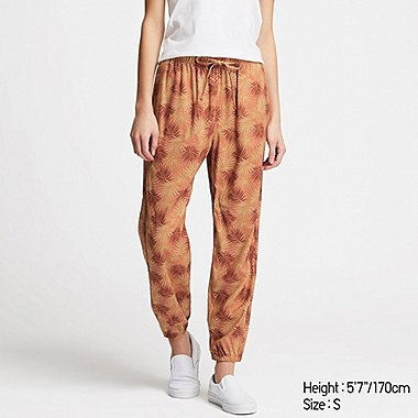 WOMEN DRAPE JOGGER PANTS, ORANGE, medium