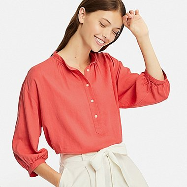 WOMEN LINEN BLEND STAND COLLAR 3/4 SLEEVE BLOUSE, ORANGE, medium