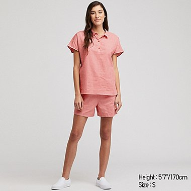 WOMEN COTTON LINEN BLEND GINGHAM CHECKED PYJAMAS