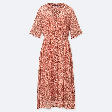 WOMEN STUDIO SANDERSON FOR UNIQLO CHIFFON PRINTED SHORT-SLEEVE DRESS (ONLINE EXCLUSIVE), ORANGE, medium