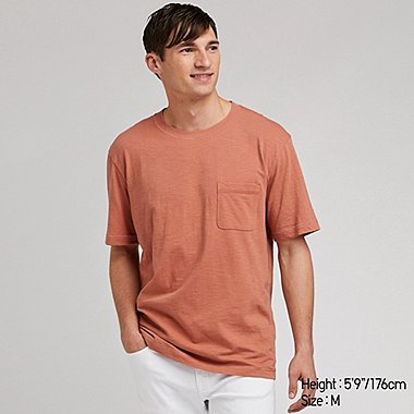 MEN SLUB CREW NECK POCKET T-SHIRT, ORANGE, medium