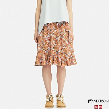 WOMEN RUFFLE SKIRT (JW Anderson), ORANGE, medium