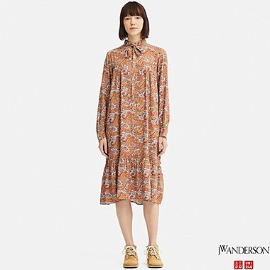 WOMEN GATHERED LONG-SLEEVE DRESS (JW Anderson), ORANGE, medium