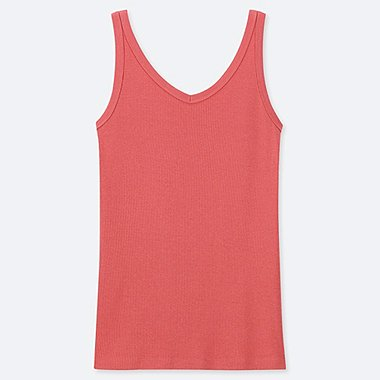 WOMEN COTTON BLEND RIBBED V NECK SLEEVELESS TOP
