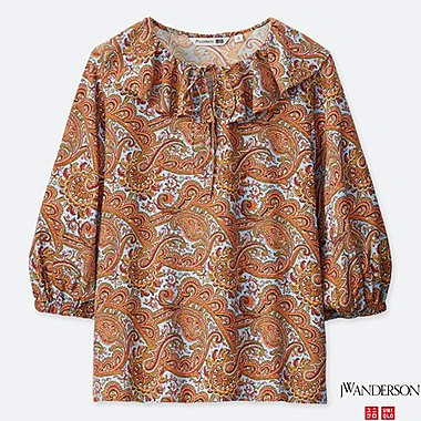WOMEN PAISLEY RUFFLE NECK 3/4 SLEEVE BLOUSE (JW Anderson), ORANGE, medium