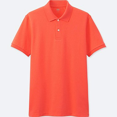 MEN DRY PIQUE SHORT SLEEVE POLO SHIRT, ORANGE, medium