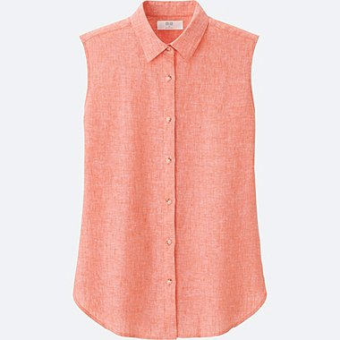 WOMEN PREMIUM LINEN SLEEVELESS SHIRT, ORANGE, medium