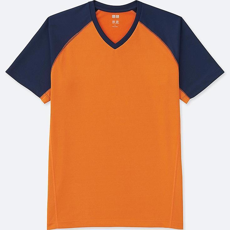 MEN DRY-EX SHORT-SLEEVE V-NECK T-SHIRT, ORANGE, large