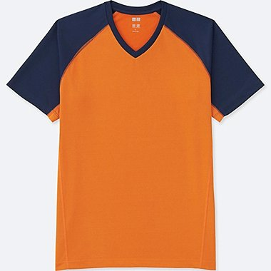 MEN DRY-EX SHORT-SLEEVE V-NECK T-SHIRT, ORANGE, medium