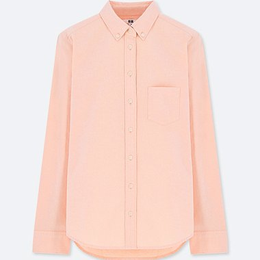 WOMEN OXFORD LONG-SLEEVE SHIRT, ORANGE, medium