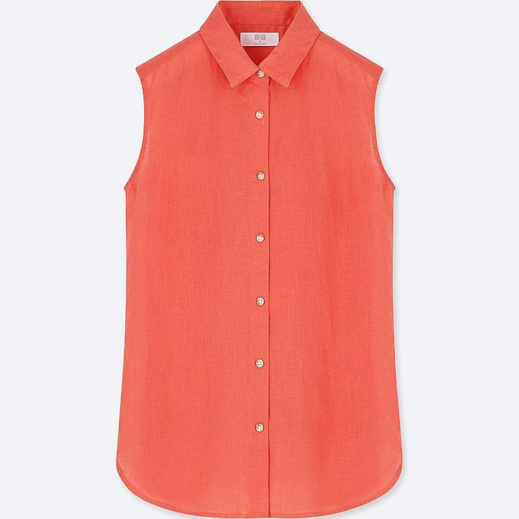 Women premium linen sleeveless shirt uniqlo us for Uniqlo premium t shirt